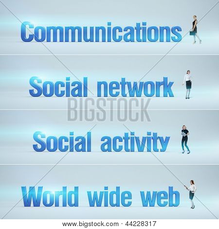 Communications, Social network, Social activity, World wide web : pack of banners with people (man / woman) and word. Businessman or businesswoman stands near big letters. Headers set.