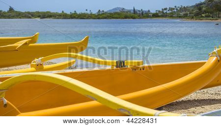 Outrigger Canoes At Maunalua Bay