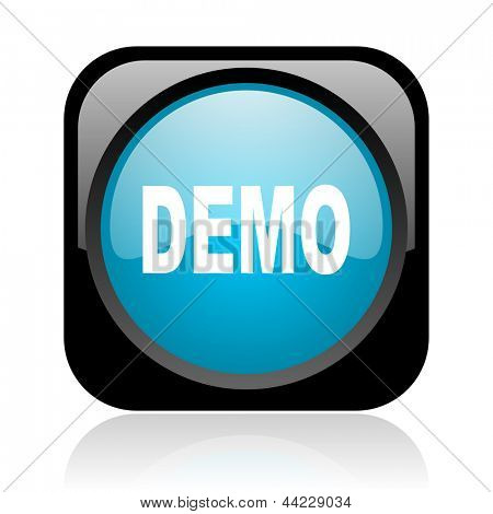 demo black and blue square web glossy icon