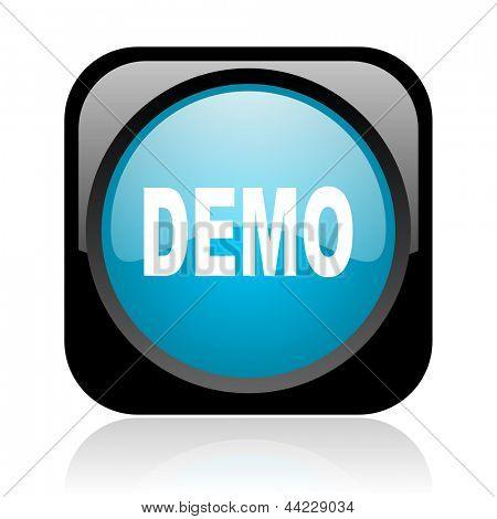 demo black and blue square web glossy icon