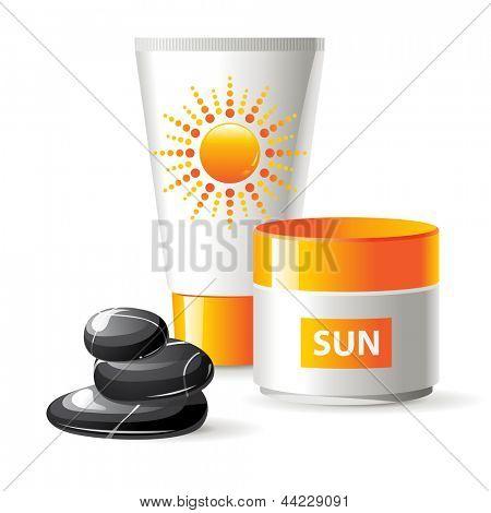 2 cremas de protección solar y las piedras spa