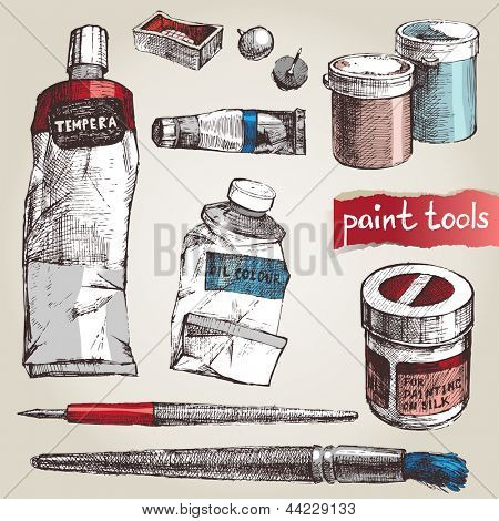 Set of hand drawn paint tools