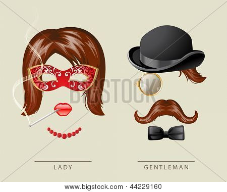 Lady and gentleman fancy dress in retro style
