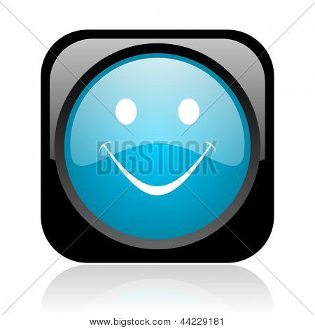 smile black and blue square web glossy icon