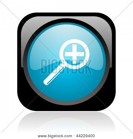 magnification black and blue square web glossy icon