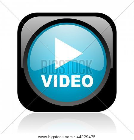 video black and blue square web glossy icon