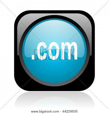 com black and blue square web glossy icon