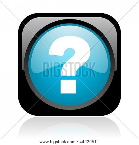 question mark black and blue square web glossy icon