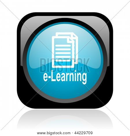 e-learning black and blue square web glossy icon