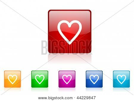 heart square web glossy icon colorful set