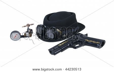 Hand Gun Goggles Hat And Steam Gadget