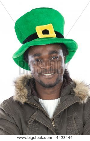 African American With Saint Patrick´s Hat