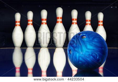 Bowling ball against ten pins