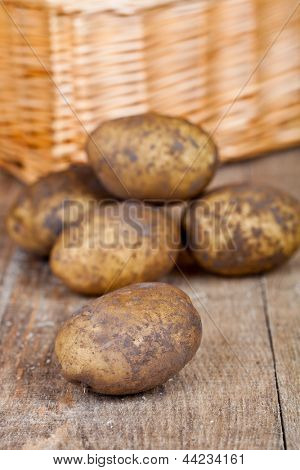 basket with fresh potatoes on rustic wooden background