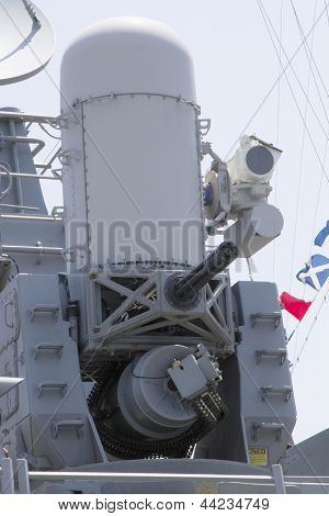 The Phalanx gun on US Navy destroyer during Fleet Week 2012