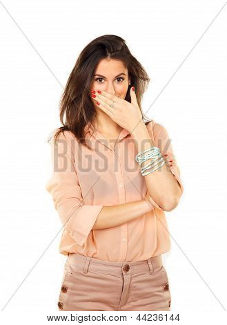 Surprised Woman Using Hand To Cover Mouth