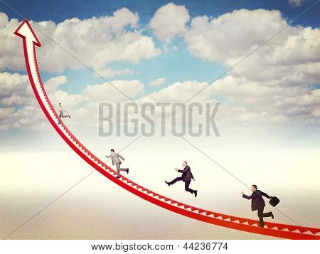 business people run on 3d arrow stair
