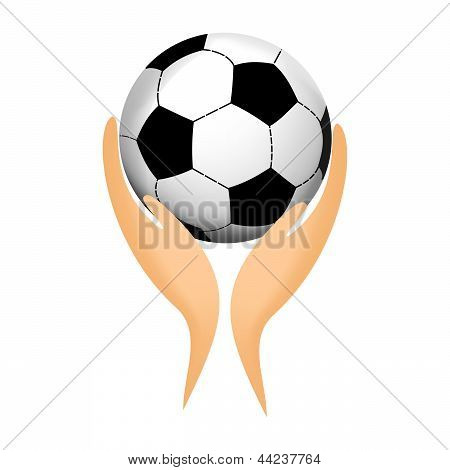 Soccer ball in his hands