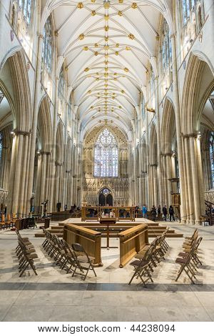 YORK, UK - MARCH 30: The Nave area in York Minster. The cathedral dates back from 1291. March 30, 2013 in York.