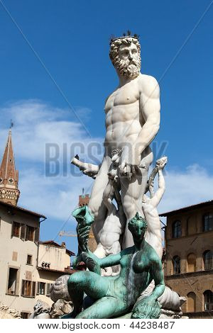 Fountain of Neptune in the Piazza della Signoria Florence