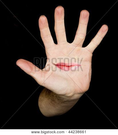 hand in the black background