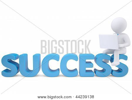 3d man with laptop sitting on the word SUCCESS