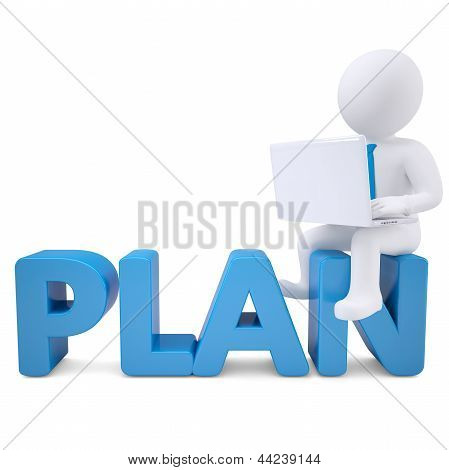 3d white man with laptop sitting on the word PLAN