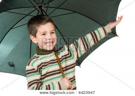Adorable Boy With Open Umbrellas
