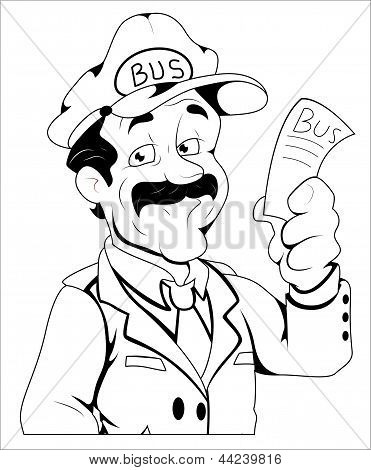 Bus Conductor - Vector Character Illustration