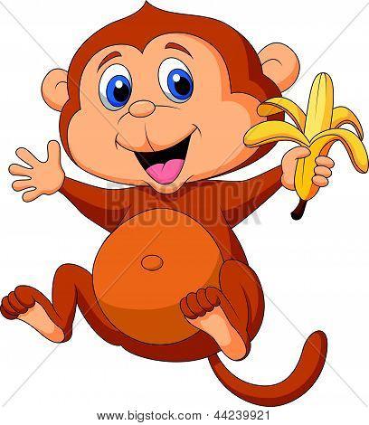 Vectores y fotos en stock de Dibujos animados mono lindo comer ...