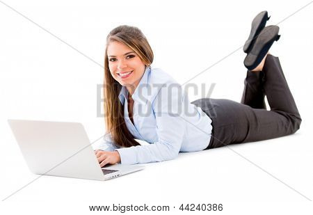 Business woman working online with a computer - isolated over white