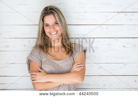 Beautiful Brazilian woman smiling looking very happy
