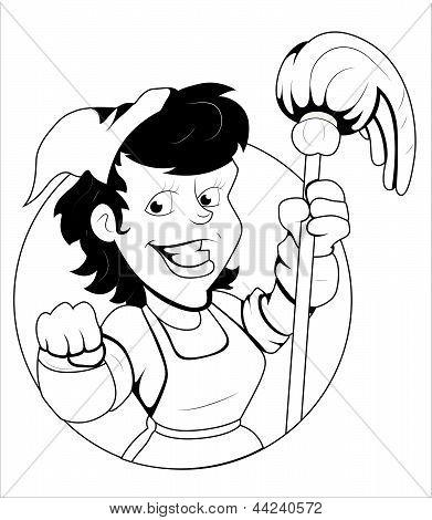 Housekeeper(servant) Vector Illustration
