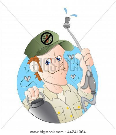 Cartoon Exterminator Man Illustration