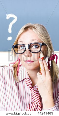 Cute Blond Girl In Glasses Asking Big Question