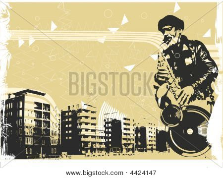 Vector Illustration With Saxophonist In Grunge Style