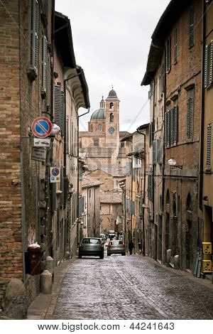Street Of Old Urbino, Italy At Dull Day