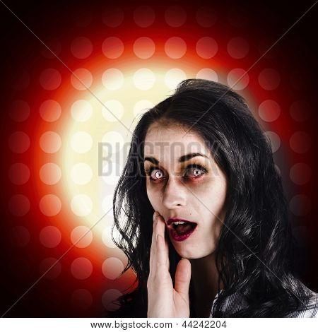 Dark Portrait Of A Zombie Girl In Shock Horror
