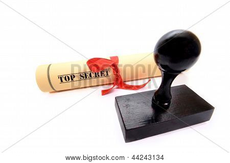 Rubber Stamp And Top Secret Document
