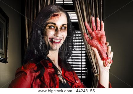 Evil Business Person Waving Hello With Sliced Hand