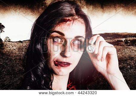 Infected Woman Searching Field During Zombie Apocalypse