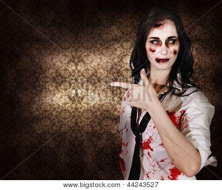 Eerie Woman Pointing To Halloween Copyspace