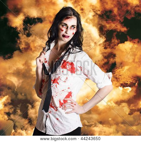 Hot Zombie Business Woman On Fire Background