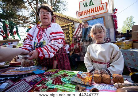 VINNICI, LENINGRAD REGION, RUSSIA - JUNE 10: Unknown child during celebrate the annual holiday Vepsian national culture