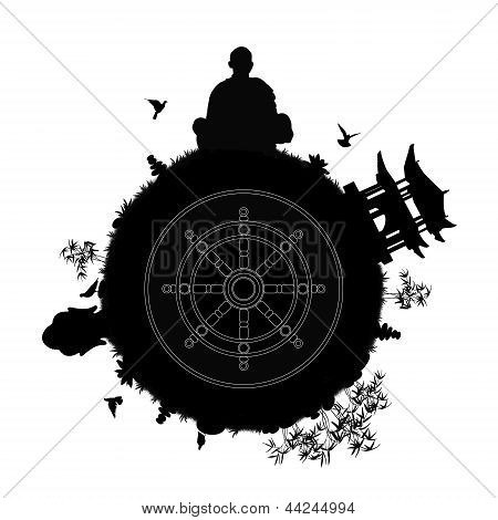 Buddhist Planet With A Dharma Wheel