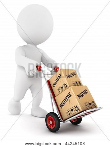 3d white people pushing a hand truck