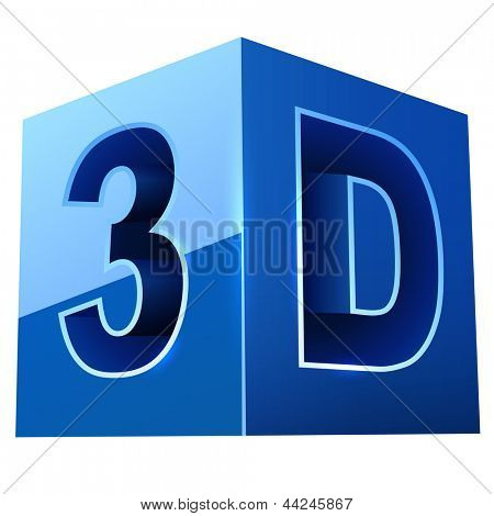 Blue cubic 3D video format sign isolated on white background.