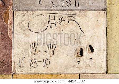 Handprints Of Cher In Hollywood Boulevard In The Concrete Of Chinese Theatre's Forecourt