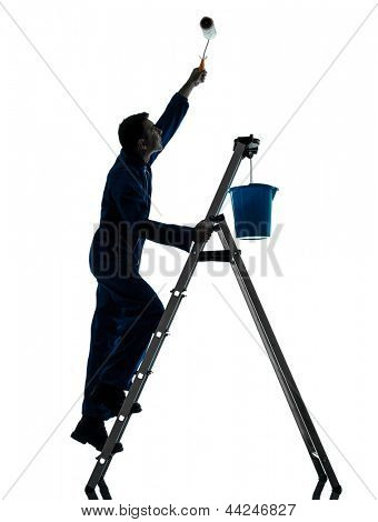 one caucasian man house painter worker silhouette in studio on white background