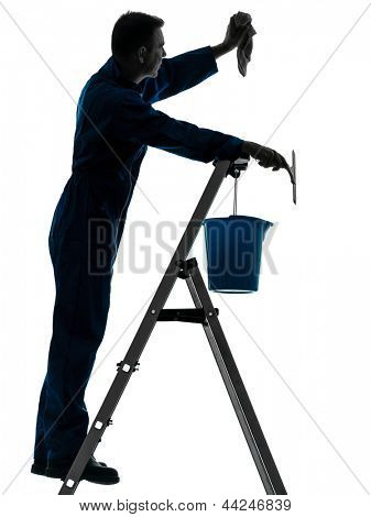 one caucasian man house worker janitor cleaning window cleaner silhouette in studio on white background
